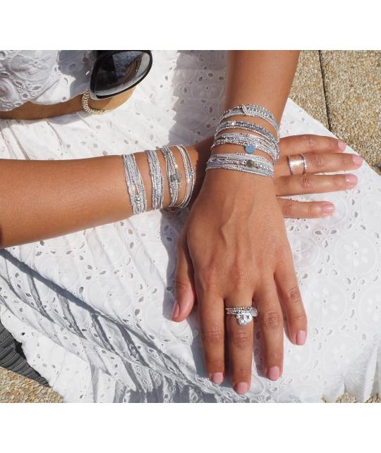 Bracelet multi-tours virtuose gris clair - Doriane bijoux - Doriane Bijoux