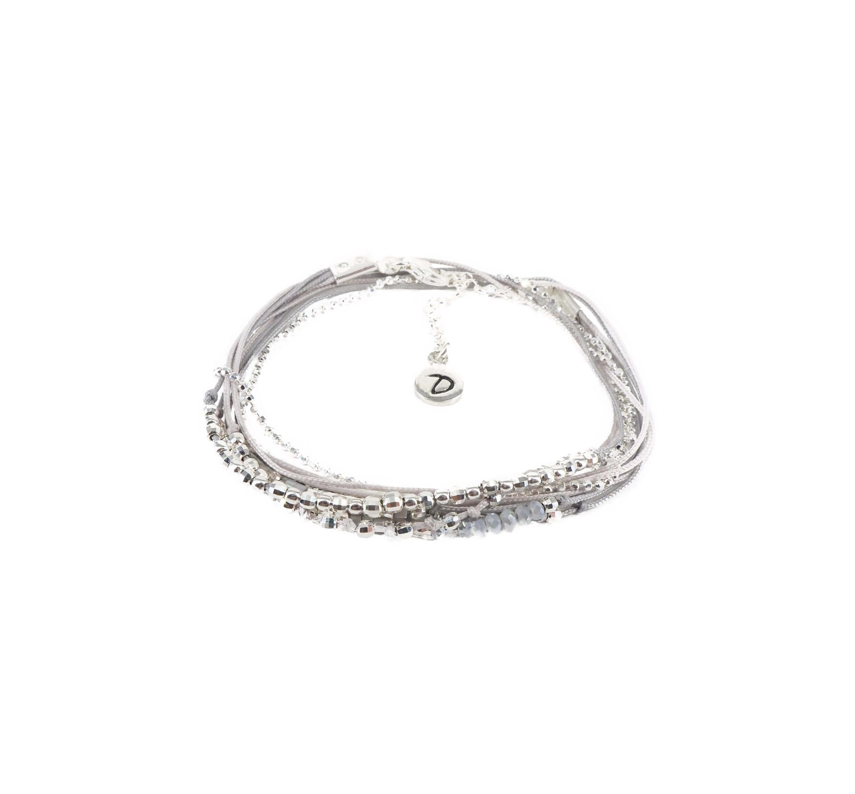 Bracelet multi-tours iconique gris clair - Doriane bijoux