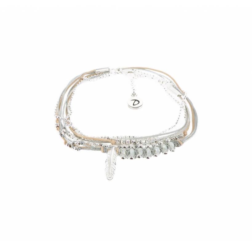 Bracelet multi-tours plume gravée vert d'eau - Doriane bijoux