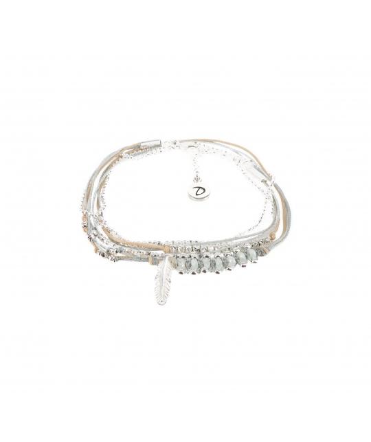 Bracelet multi-tours plume gravée vert d'eau - Doriane bijoux - Doriane Bijoux