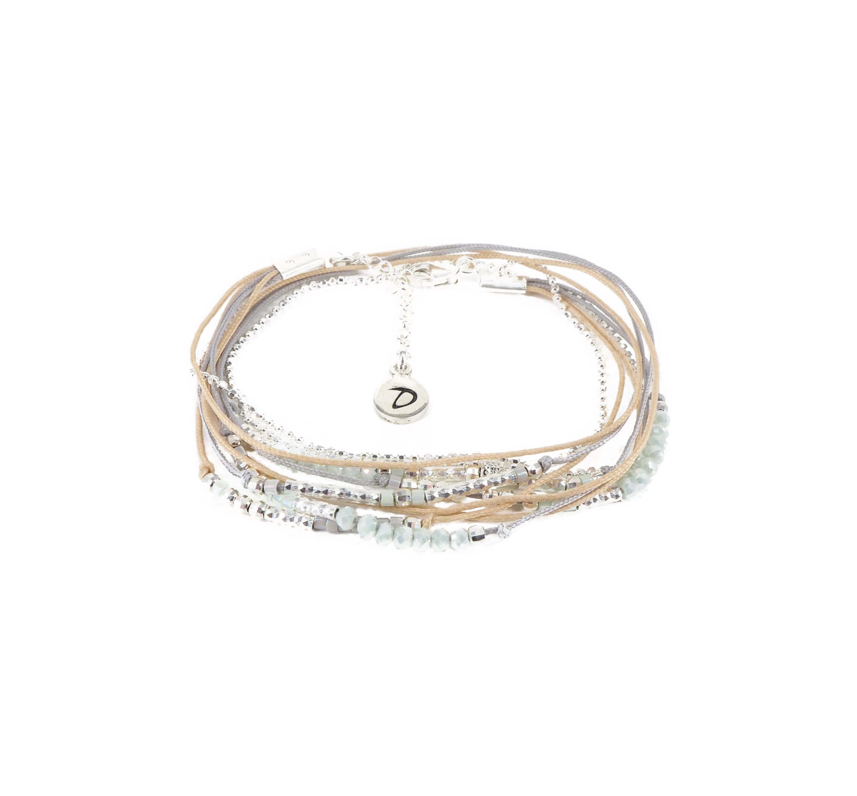 Bracelet multi-tours égérie vert d'eau - Doriane bijoux