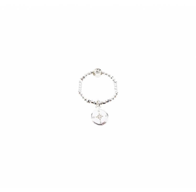 Bague élastique rose des vents argent - Doriane bijoux
