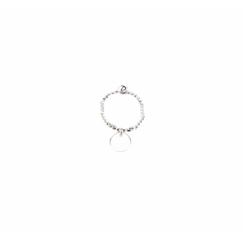Bague élastique pastille argent - Doriane bijoux