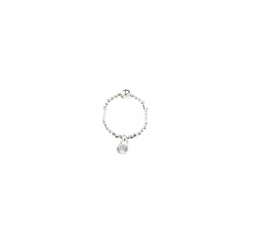 Bague élastique zircon argent - Doriane bijoux