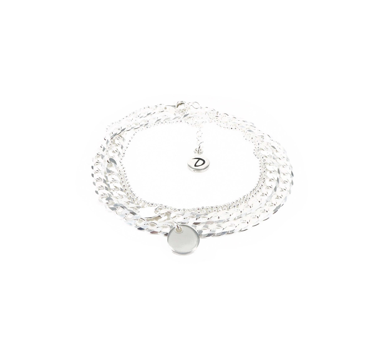 Bracelet gourmette pastilles double tours - Doriane bijoux