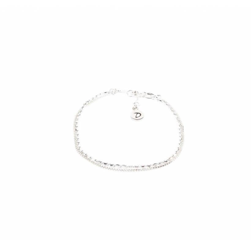 Bracelet double chaines pépites argent - Doriane bijoux