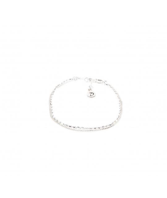 Bracelet double chaines pépites argent - Doriane bijoux - Doriane Bijoux