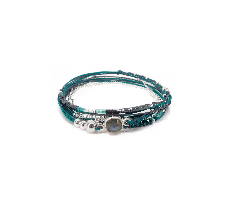 Bracelet multi-tours carré labradorite vert gris - Doriane bijoux