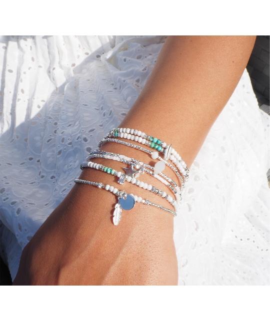 Bracelet double stone plume blanc turquoise - Doriane bijoux - Doriane Bijoux