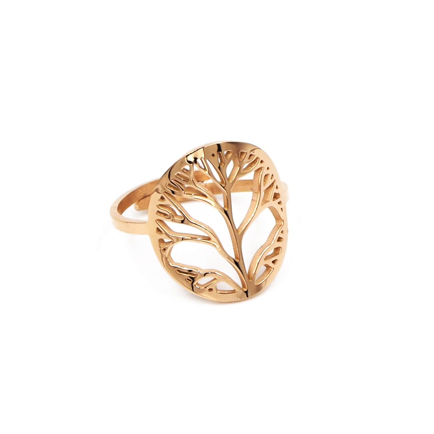 Bague arbre de vie en acier rose - Zag Bijoux