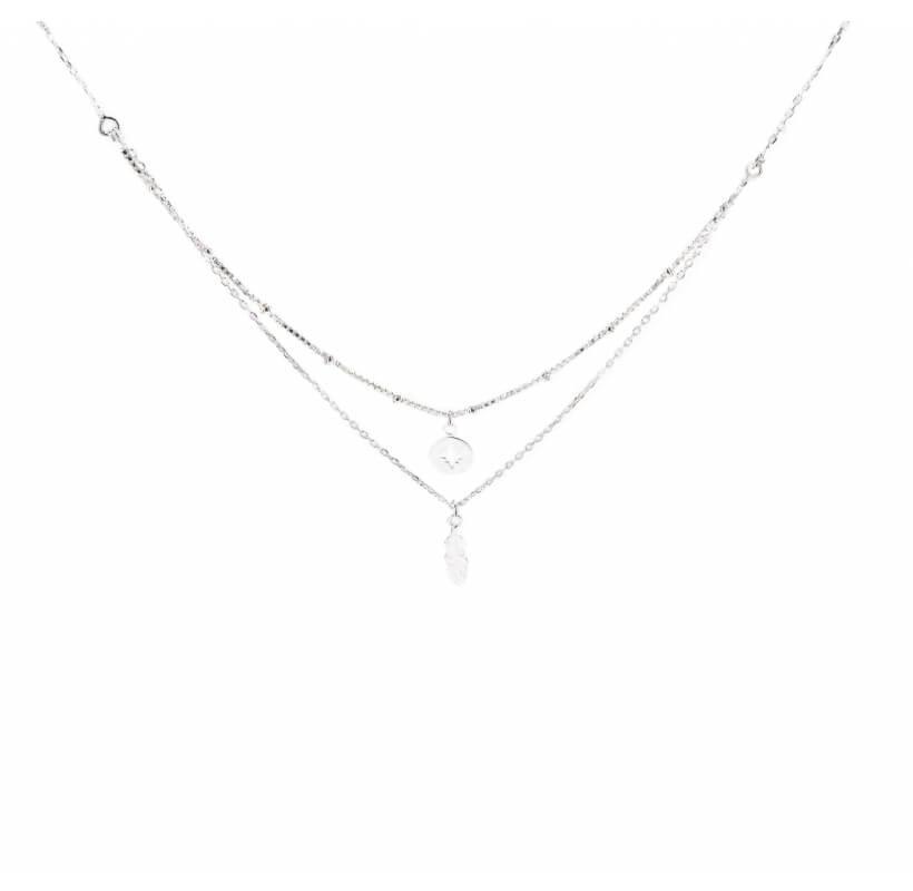 Collier double rangs plume étoile du nord - Doriane bijoux