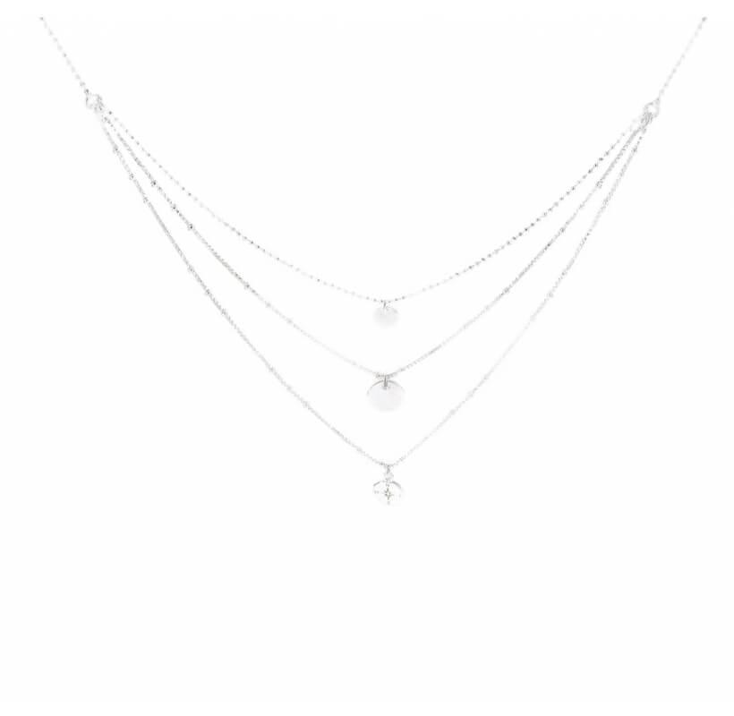 Collier triple rangs plume pastille étoile - Doriane bijoux