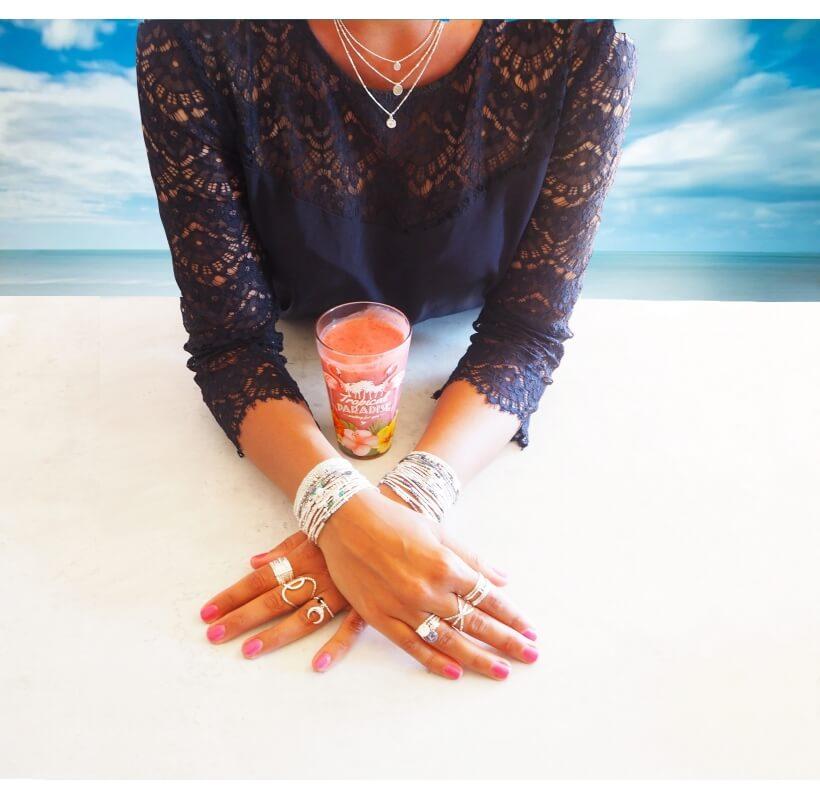 Collier triple rangs pastilles et rose des vents - Doriane bijoux - Doriane Bijoux