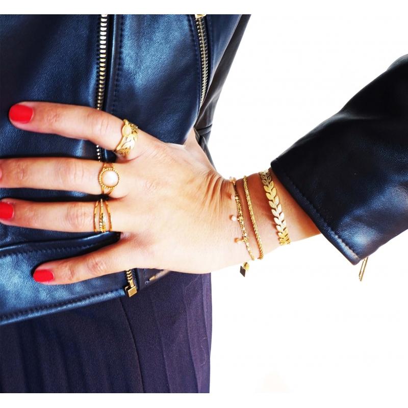 Alea ears gold bangle bracelet- Shyloh Paris