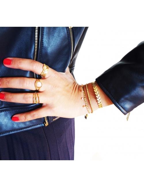 Bracelet jonc aléa épis en acier jaune - Shyloh Paris