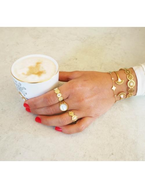 White Alisha gold bangle bracelet - Shyloh Paris