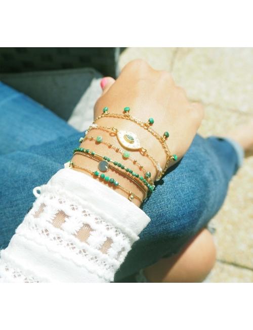 Bracelet perle malachite en acier jaune - Zag Bijoux