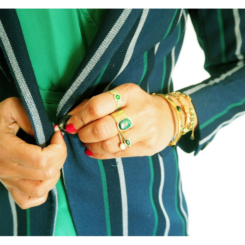 Stone malachite gold ring -...
