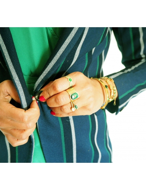 Stone malachite gold ring - Zag Bijoux