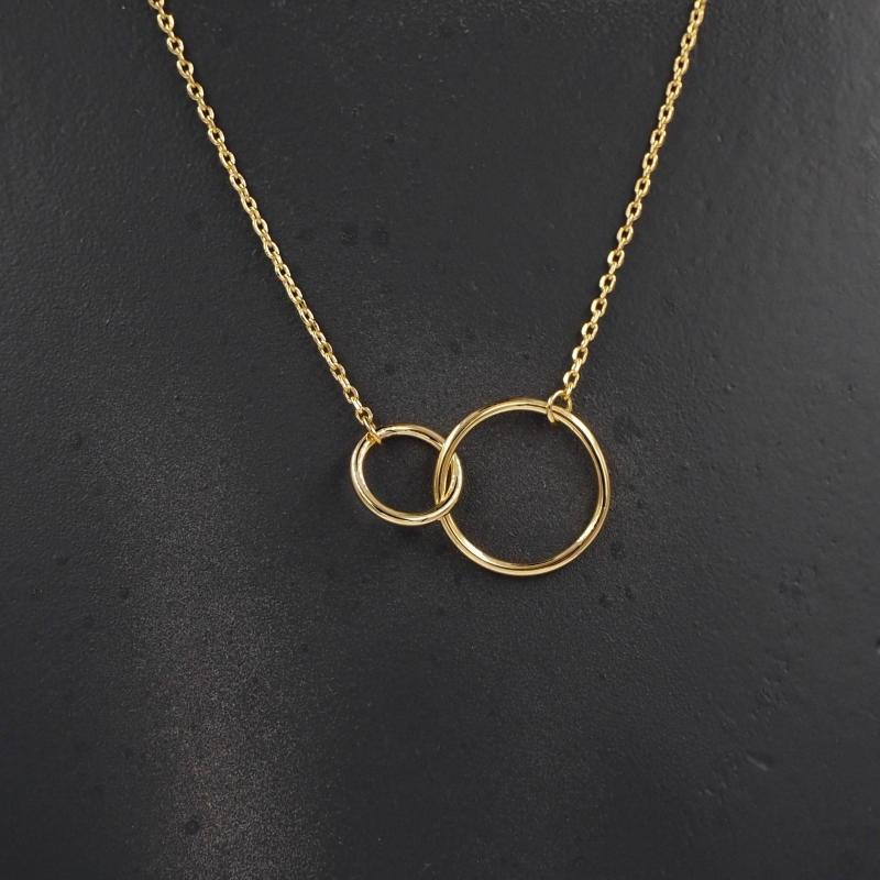 Collier double cercle medium en plaqué or - Les créations de Lili