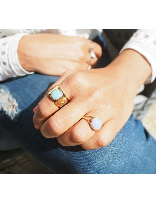 Amazonite pastille gold ring - Zag Bijoux