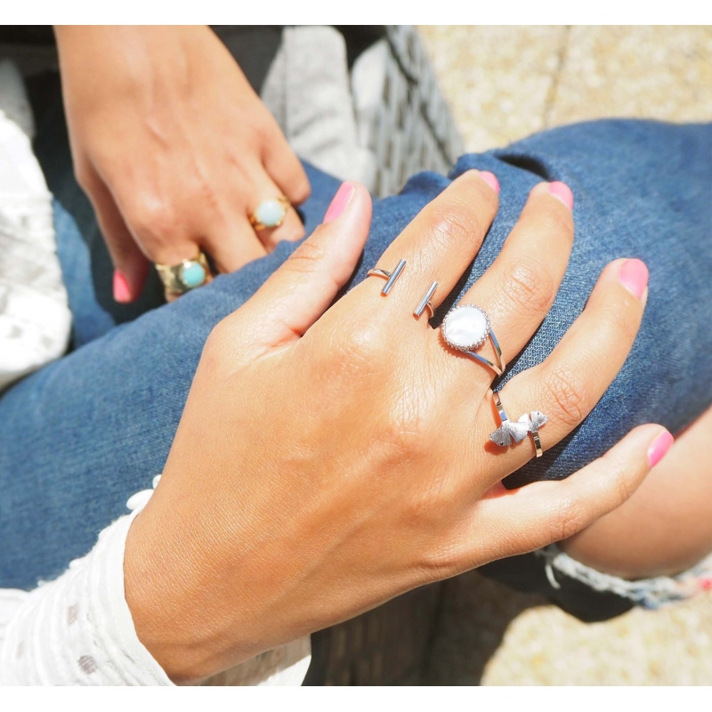 Pearl pastille silver ring...