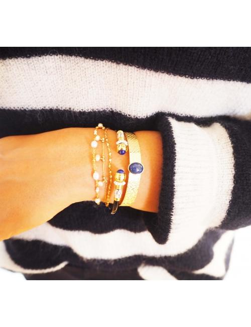 Stone white bangle bracelet - Zag Bijoux
