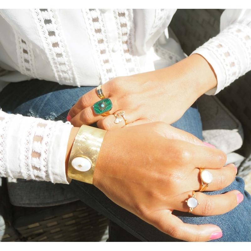 Bracelet manchette gloria en acier et quartz rose - Zag Bijoux