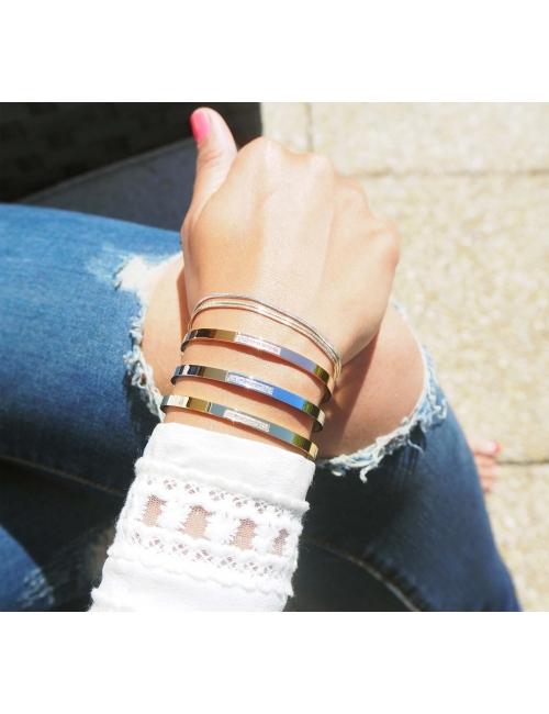 Bracelet jonc strass en acier jaune - Zag Bijoux