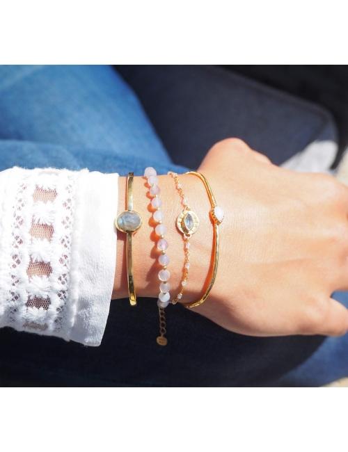 Bracelet jonc goutte précieuse opale et or - Lucky Team