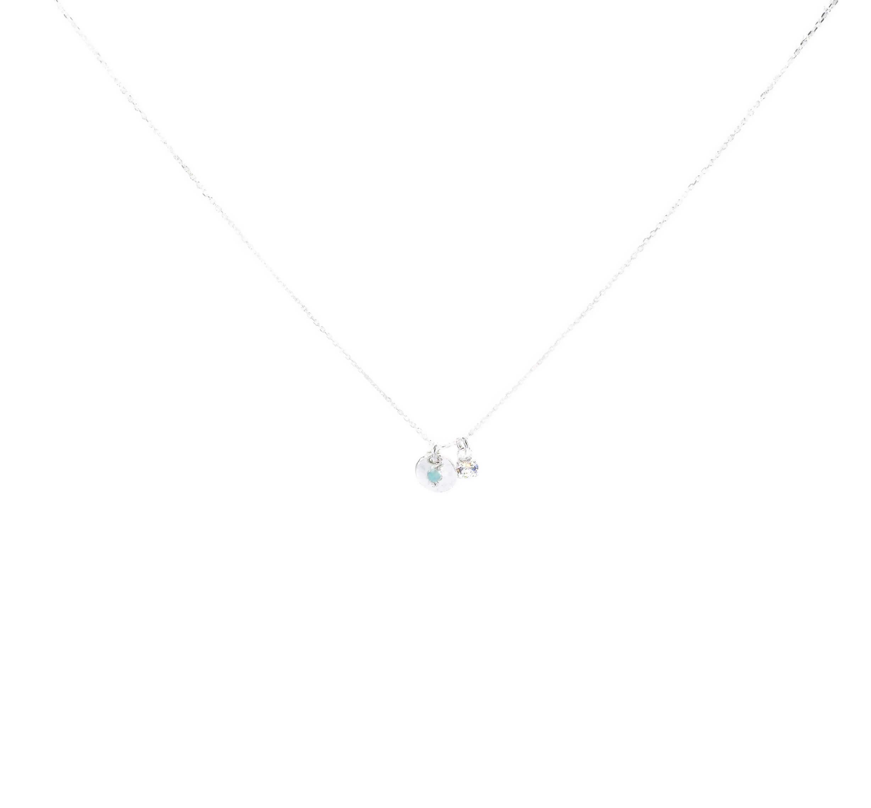 Collier chaîne pastille zircon - Doriane bijoux