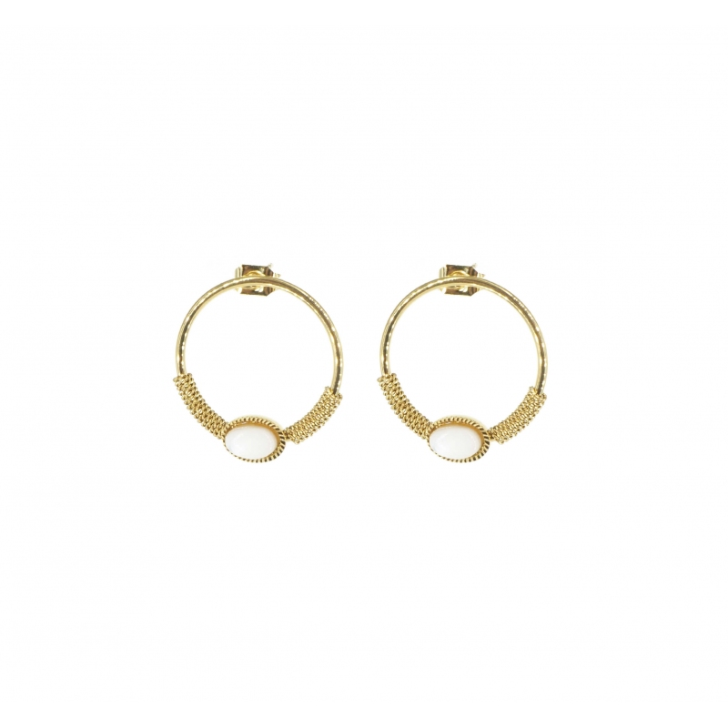 Circle stone earrings white...