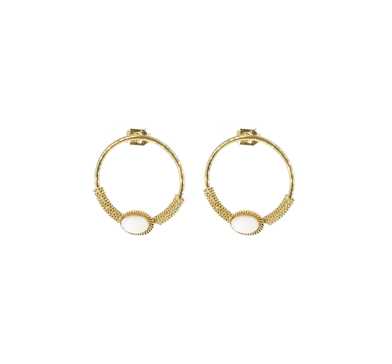 Boucles d'oreilles cercle stone blanc acier or - Zag Bijoux