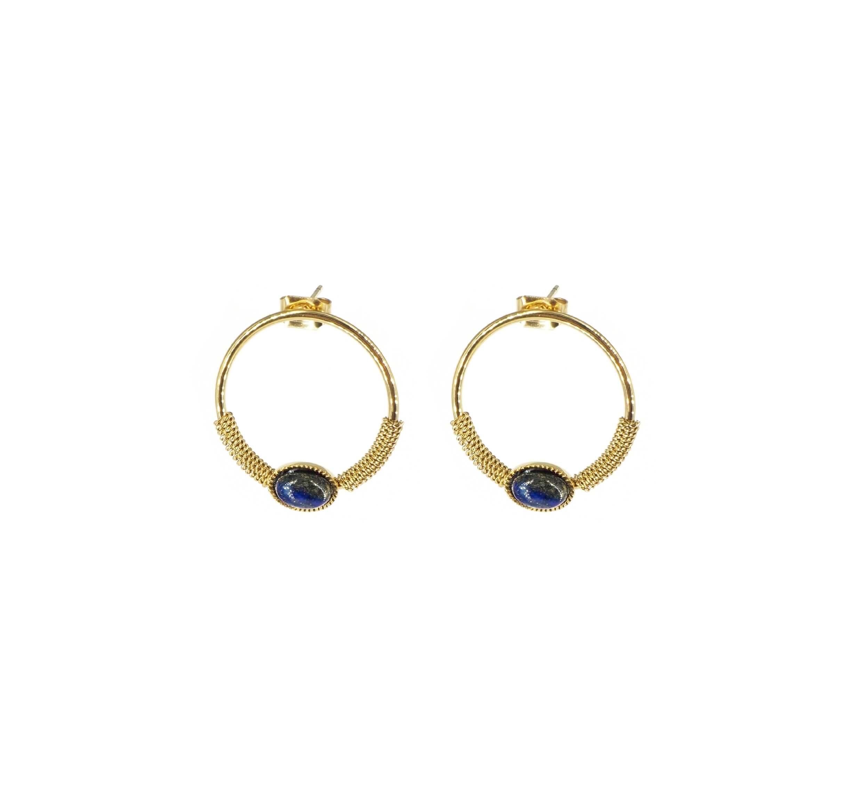 Boucles d'oreilles cercle stone bleu en acier or - Zag Bijoux