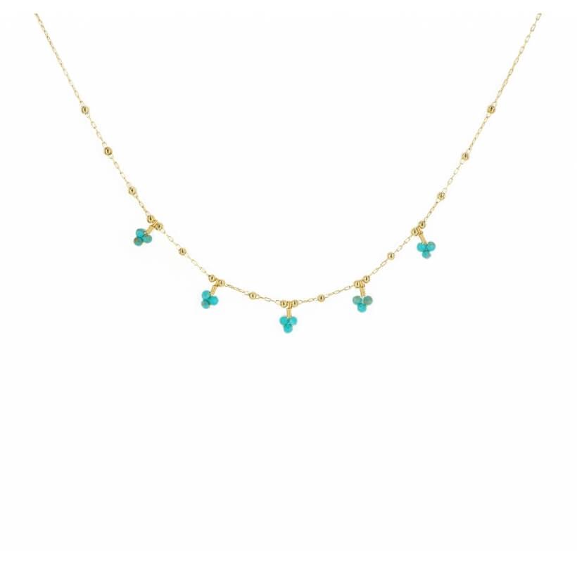 Collier grappes turquoise en acier or jaune - Zag Bijoux