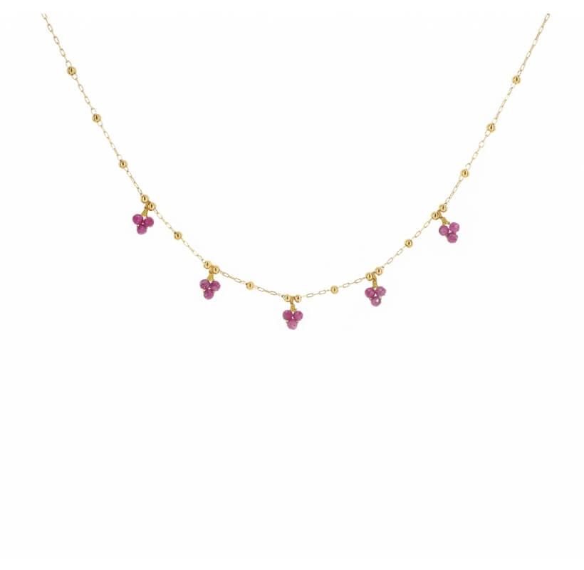 Collier grappes rubis indien en acier or jaune - Zag Bijoux - Zag Bijoux