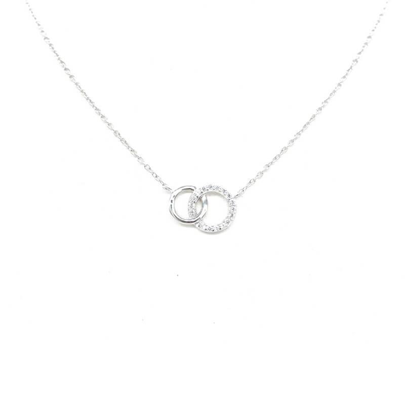 Collier anneaux entrelacés en argent - Pomme Cannelle