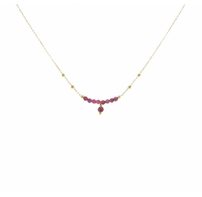 Collier pampille solo rubis indien acier or jaune - Zag Bijoux