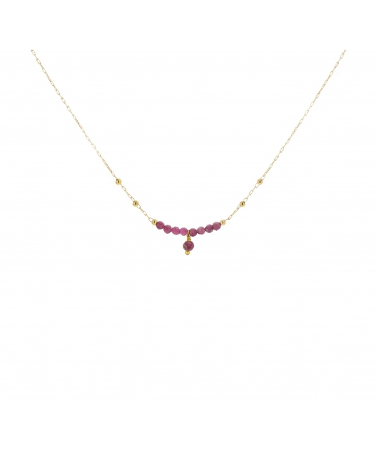 Collier pampille solo rubis indien acier or jaune - Zag Bijoux - Zag Bijoux