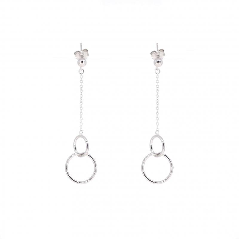 Boucles d'oreilles double cercle pendantes en argent - Les créations de Lili