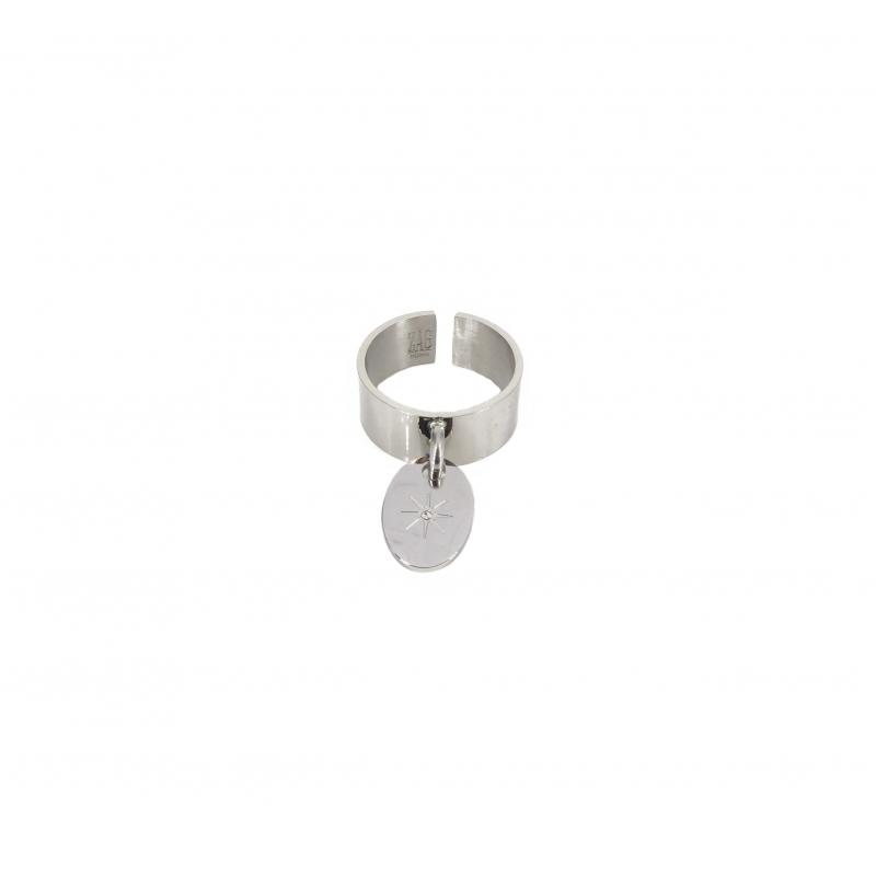 Star studded steel ring -...