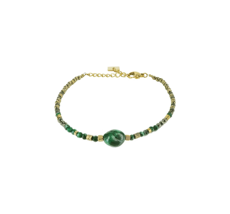 Bracelet stone ovale malachite en acier or jaune - Zag Bijoux