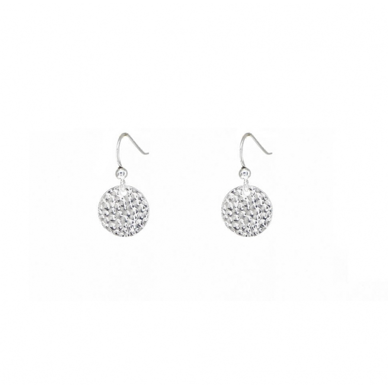 Hammered silver earrings -...