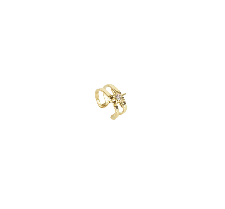 Bague d'oreille shiny star en acier or jaune - Zag Bijoux