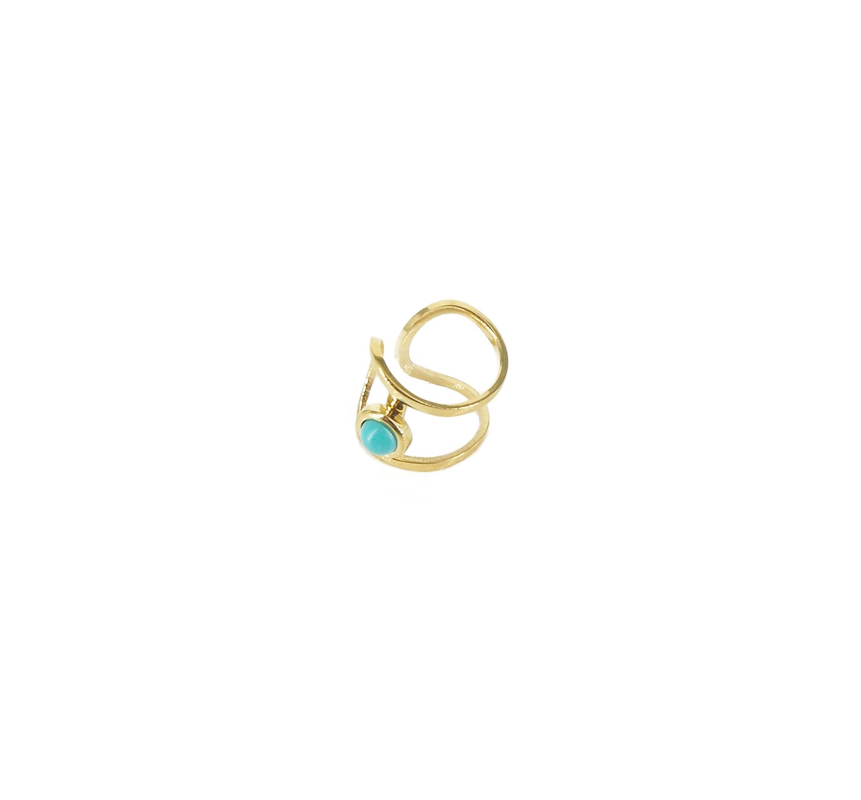 Bague d'oreille turquoise acier or jaune - Zag Bijoux