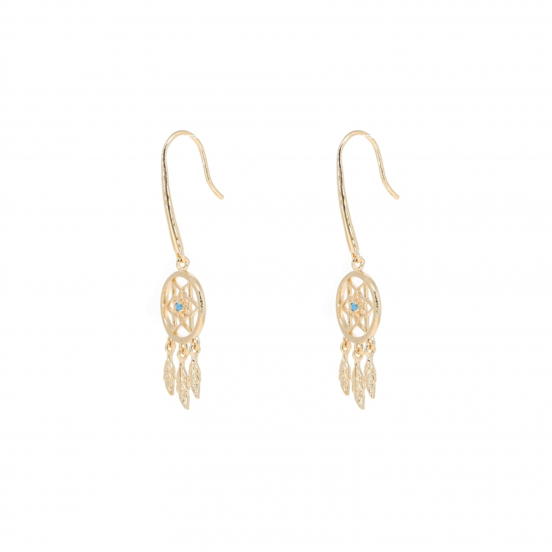 Dream catcher turquoise gold earrings - Pomme Cannelle