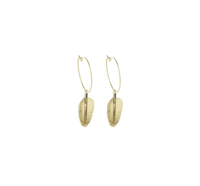 Boucles d'oreilles créoles plume en acier or jaune - Zag Bijoux