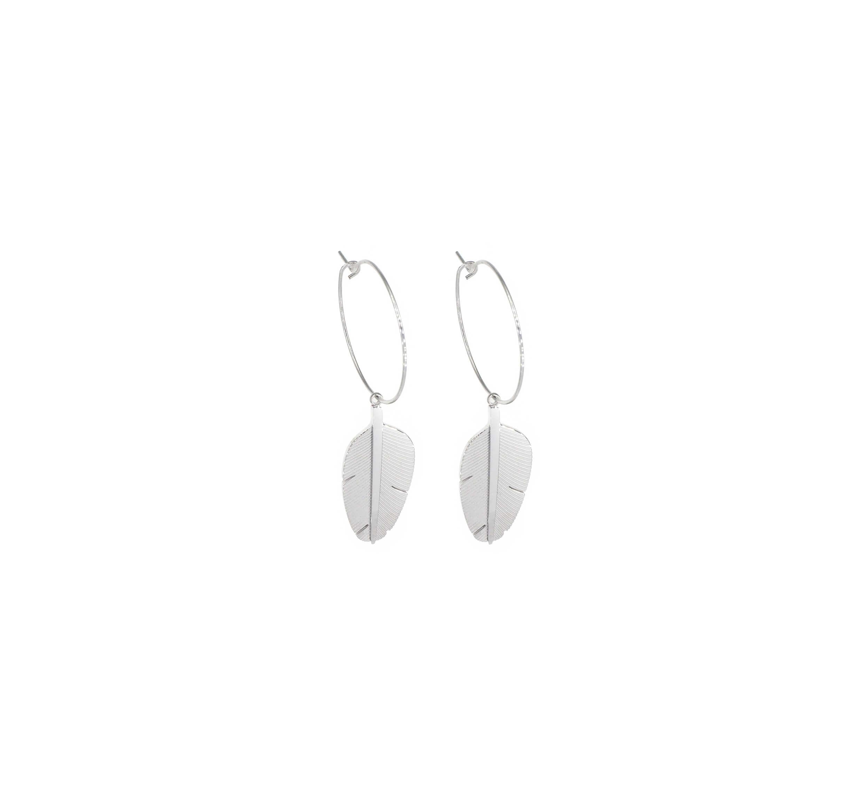 Boucles d'oreilles créoles plume en acier - Zag Bijoux
