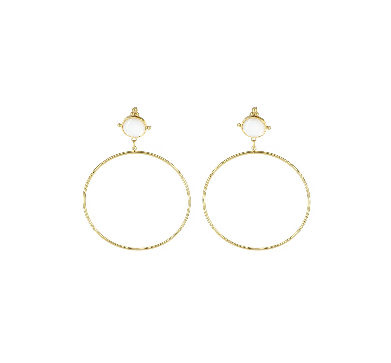 Boucles d'oreilles cercle nacre en acier or jaune - Zag Bijoux