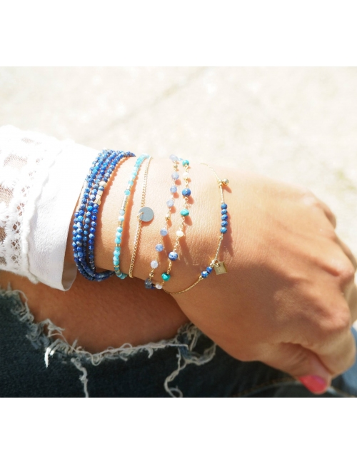 Bracelet multi-rangs lapis...